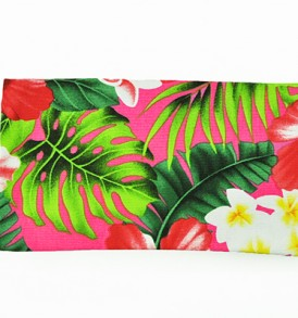 Canvas Zipper Pouch – Small Hibiscus Plumeria Leaves Pink