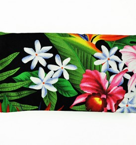 Canvas Zipper Pouch – Small bird of Paradise Leaves Black