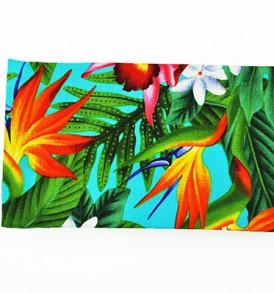 Canvas Zipper Pouch – Small Bird of Paradise Leaves Blue