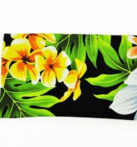 Canvas Zipper Pouch – Small Plumeria Orchid Black