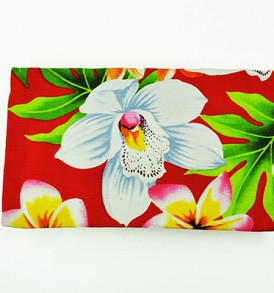 Canvas Zipper Pouch – Small Plumeria Orchid Red