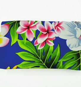Canvas Zipper Pouch – Small Plumeria Orchid Royal