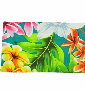 Canvas Zipper Pouch – Small Plumeria Orchid Teal
