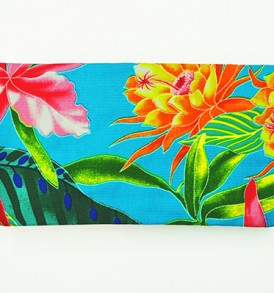 Canvas Zipper Pouch – Small Tropical Blossom Blue