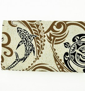 Canvas Zipper Pouch – Small Tapa Shark Honu Cream