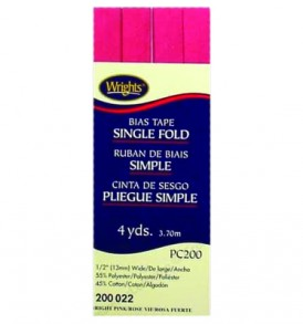 Wrights Tape Single Fold Bias 4yd Pink