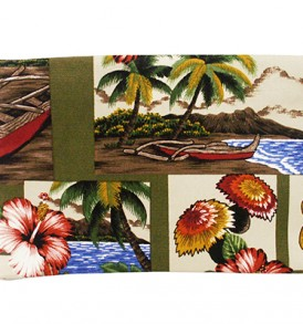 Canvas Coin Purse – Large Hawaiian Dance Olive
