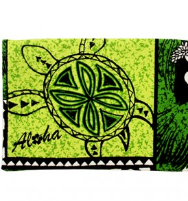 Canvas Coin Purse – Large Honu Box Green