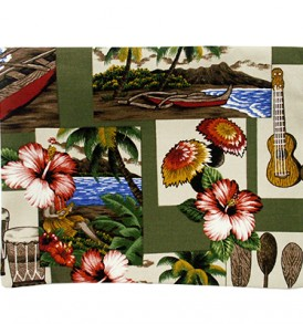 Canvas Zipper Pouch – Large Hawaiian Dance Olive