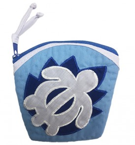Quilted Coin Purse Large – Honu Blue White