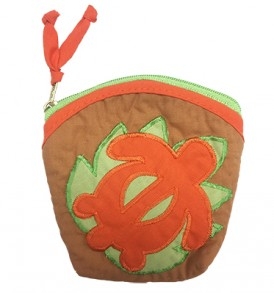 Quilted Coin Purse Large – Honu Brown Orange