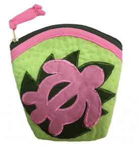 Quilted Coin Purse Large – Honu Green Pink