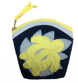 Quilted Coin Purse Large – Honu Navy Yellow