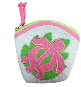 Quilted Coin Purse Large – Honu Slate Pink