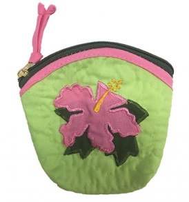 Quilted Coin Purse Large – Hibiscus Green Pink