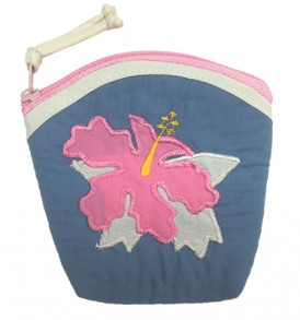 Quilted Coin Purse Large – Hibiscus Navy Pink