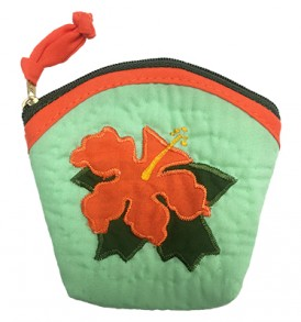 Quilted Coin Purse Large – Hibiscus Teal Orange