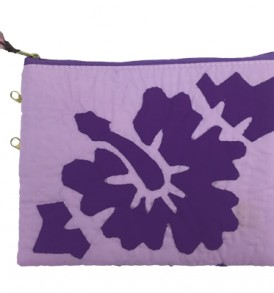Quilted Zipper Pouch (Large) – Hibiscus Purple