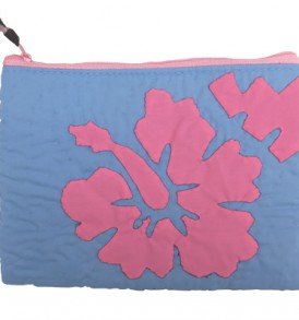 Quilted Zipper Pouch (Large) – Hibiscus Blue Pink