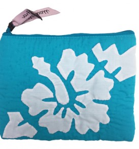 Quilted Zipper Pouch (Large) – Hibiscus Turquoise