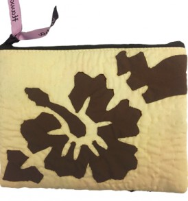 Quilted Zipper Pouch (Large) – Hibiscus Beige