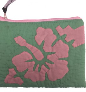 Quilted Zipper Pouch (Large) – Hibiscus Green Pink