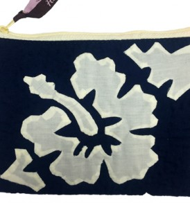 Quilted Zipper Pouch (Large) – Hibiscus Navy