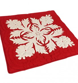 Quilted Pillow Cases Flower & Leaf  Red