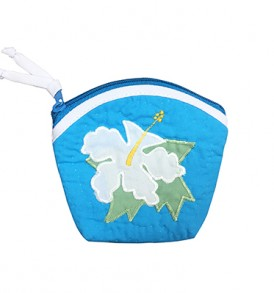 Quilted Coin Purse Large – Hibiscus Green Blue White
