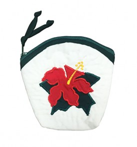 Quilted Coin Purse Large – Hibiscus Cream
