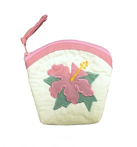 Quilted Coin Purse Large – Hibiscus Cream Pink