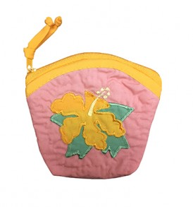 Quilted Coin Purse Large – Hibiscus Pink Yellow