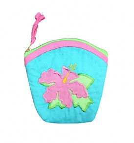Quilted Coin Purse Large – Hibiscus Teal Pink