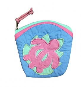 Quilted Coin Purse Large – Honu Blue Pink