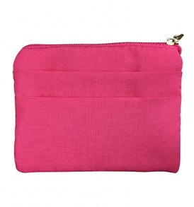 Quilted Coin Purse Square – Hibiscus & Leaf Fuchsia
