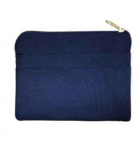 Quilted Coin Purse Square – Hibiscus & Leaf Navy