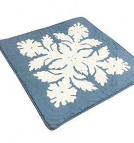 Quilted Pillow Cases Flower & Leaf  Blue
