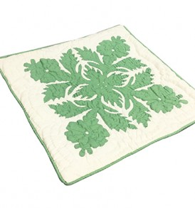 Quilted Pillow Cases Flower & Leaf  Cream Green