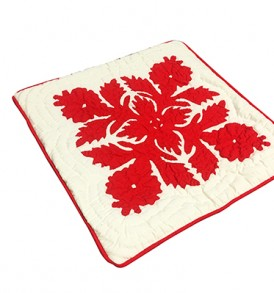 Quilted Pillow Cases Flower & Leaf  Cream Red