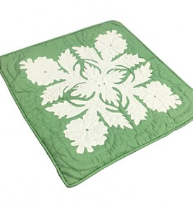 Quilted Pillow Cases Flower & Leaf  Green
