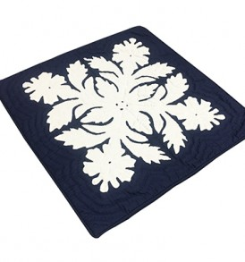 Quilted Pillow Cases Flower & Leaf  Navy