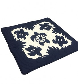 Quilted Pillow Cases Honu Tapa Navy
