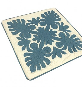 Quilted Pillow Cases Monstera Leaf Cream Blue