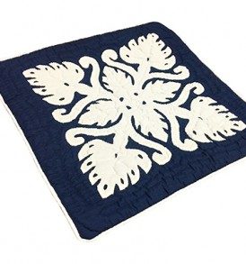Quilted Pillow Cases Monstera Navy