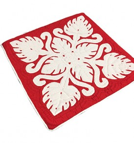 Quilted Pillow Cases Monstera Red