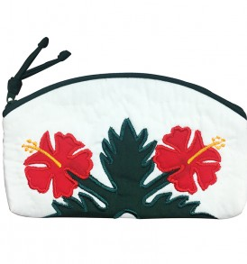 Quilted Pouch (Small) – Hibiscus White