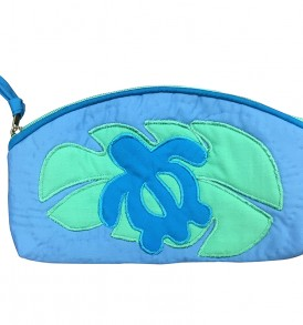Quilted Pouch (Small) – Monstera Honu Blue