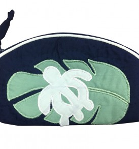 Quilted Pouch (Small) – Monstera Honu Navy