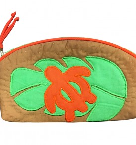 Quilted Pouch (Small) – Monstera Honu Orange