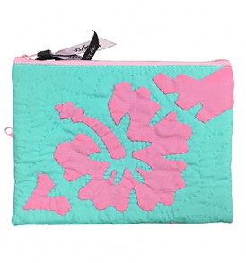 Quilted Zipper Pouch (Large) – Hibiscus Teal Pink